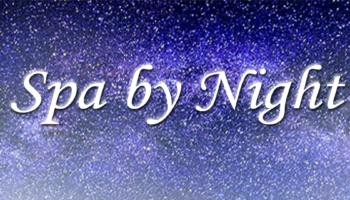 Spa by Night scritta con cielo stellato